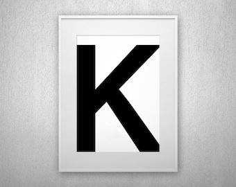 Typography Art Print - K - Letter poster - Printable - Wall Art