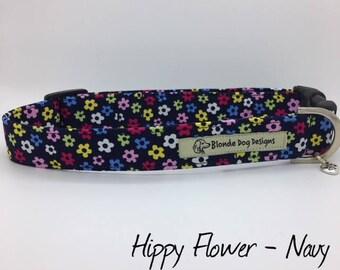 Floral Dog Collar, or, Floral Dog Lead, Hippy Flower, Pretty Dog Collar, Navy Dog Collar, Dog Collar UK
