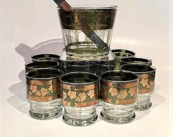 Cera Gold Rocks Glasses and Ice Bucket Set of 8, Mid Century 22KT Old Fashioned Gold Trim Glassware, Golden Grapes Rocks Glasses Barware Set