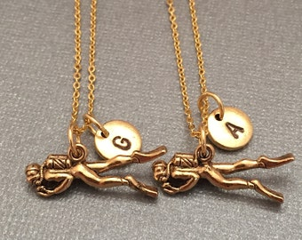 Best friend necklace, scuba diver necklace, nautical necklace, bff necklace, sister, friendship jewelry, personalized, initial, monogram