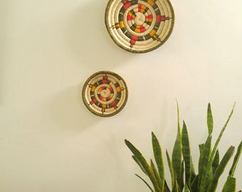 Vintage Pair of African Grass Coil Wall Baskets