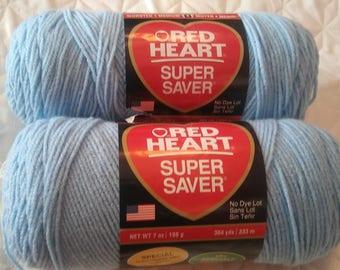 Red Heart Super Saver Light Blue X2