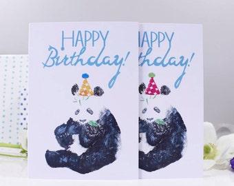 Happy Birthday Panda Party Hat Card / Panda Birthday Card / Funny Birthday Card / Birthday Card for him / her