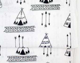 Black and White Teepee fabric, tribal teepees fabric, teepees fabric, woodland fabric, tribal fabric, arrows fabric, Quilting Fabric, Tribal