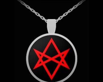 Unicursal hexagram etsy esoteric necklace thelema unicursal hexagram symbol pendant aleister crowley oto mozeypictures Images