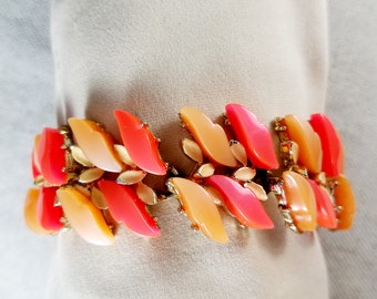 Thermoset Plastic Link Bracelet with Two-Color Leaf Pattern in Hot Orange and Butterscotch Gold Tone Metal