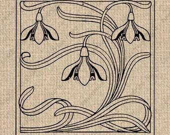 INSTANT DOWNLOAD Art Nouveau Image Art Nouveau Graphics Flower Images Flower Clipart Nouveau Clip Art Art Nouveau Digital Sheet Download