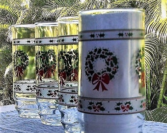 Vintage Indiana Glass Victorian Christmas Tumblers Set of Four (4), Christmas Drinking Glasses, Holiday Drinkware