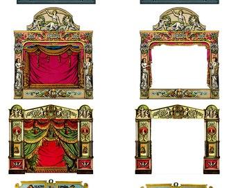Victorian Paper Theatre Set  SteamPunk ATC/ Altered Art/ Cards Craft/  Digital