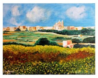 Print- Gozo art, Malta art, landscape art, wall art print,nature art,calming art,  home decor, giclee, countryside art, rural art,