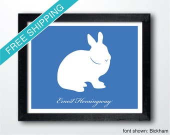 Personalized Bunny Silhouette Print with Custom Message