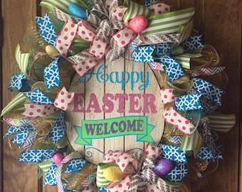 Easter Mesh Ribbon Wreath