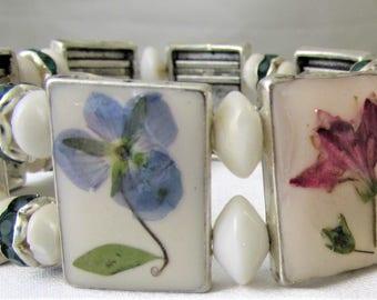 Pressed Flower STRETCH  Bracelet, Real Flowers, Metal, Pressed Flower Jewelry, Resin (3077)