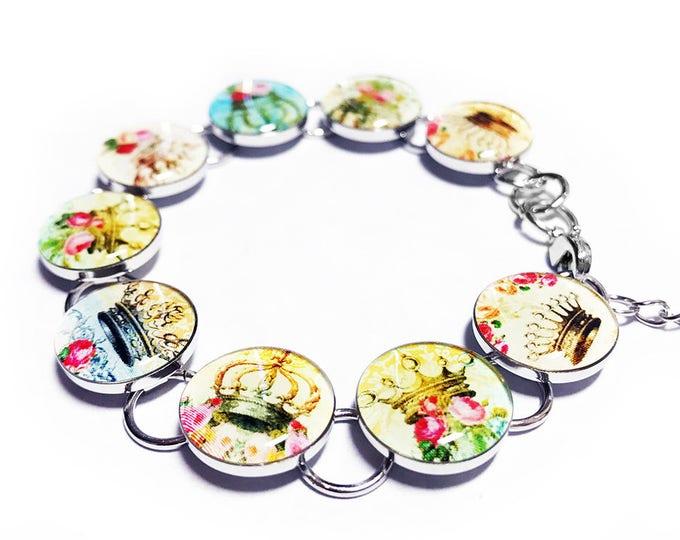 Princess Crown Bracelet, Whimsical Bracelet, Flower Jewelry, Handmade Jewelry, Resin Bracelet, Handmade Bracelet, Princess Jewelry, Floral