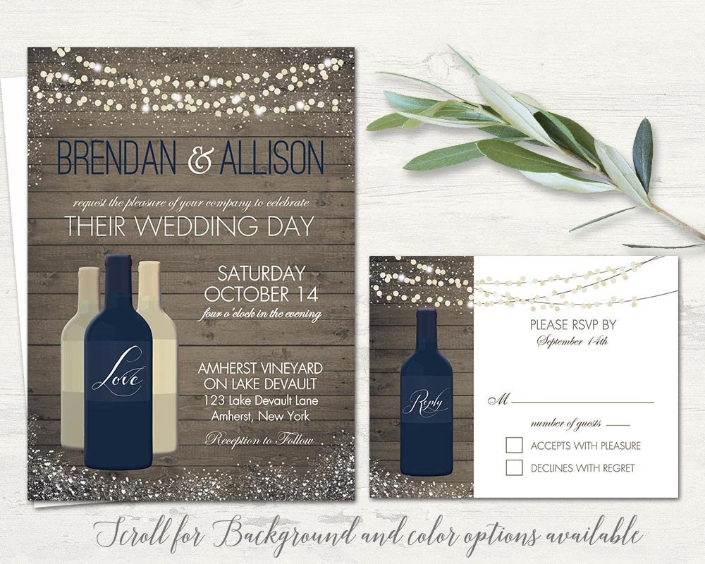 Vineyard Wedding Invitations Set Printable Rustic Wine Country