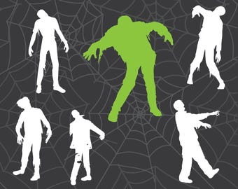 Zombie Silhouettes, Zombie Clipart, Zombies, Zombie Cut Files, Cricut Cut File, Silhouette File, Cuttables, Halloween Cuttables
