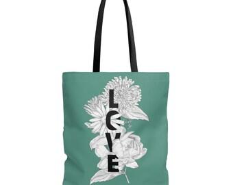 Teal Floral Love Tote Bag