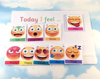 Today I feel, Feelings, Emotions, Communicate in symbols,  Emojis, ASD, Visual aid, PECS, Magnetic option, Home schooling, Pre-school, EYFS