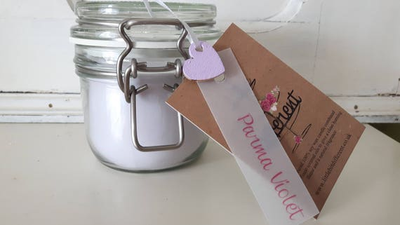 Parma Violet candle. Kilner style jar. Beautiful soy wax candle scented with parma violet.  Vegan candles.  Eco soy.  Made in Wales UK