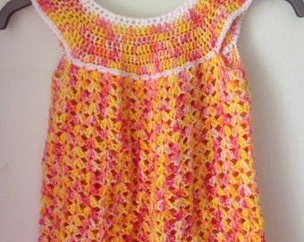 Toddler crochet layla summer dress or tunic top. 2-4 yrs. Handmade with Luxury indie dyed merino and bamboo yarn.