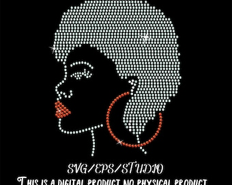 afro woman with short cut rhinestone template Svg and studio files Make Your Own Shirt or card DIY