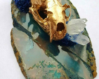 Gold real mink skull on agate with white quartz clusters - curiosity - crystal skull mount - taxidermy - animal bone art - wildlife gifts