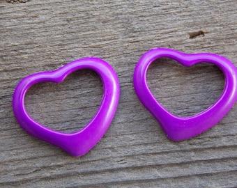 4 Purple Enamel Heart Charms 39mm Open Heart Pendant