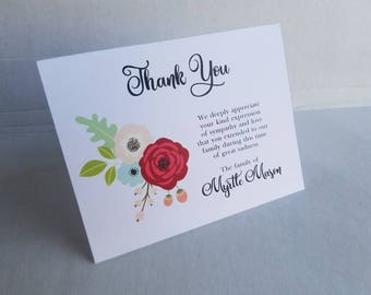 Floral Spray 2 Sympathy Thank You Cards - personalized custom cards for Funeral Thank You's grief and bereavement note cards