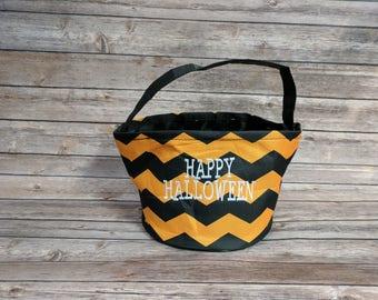 Halloween Trick or Treat Bucket Orange/Black Chevron