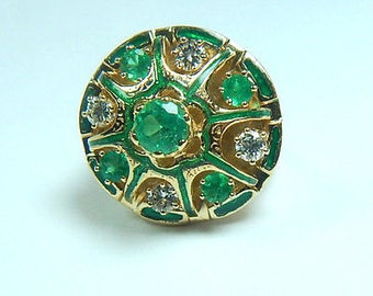 Antique Emerald Diamond Engagement Ring 1.20 CTW 18K Gold Size 7 Round Fine Muzo