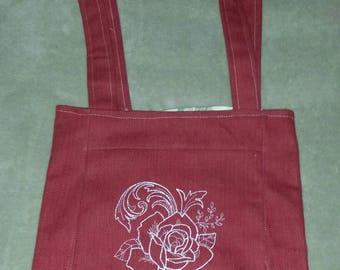 Roses reversible  tote bag handmade embroidered book bag  shopping bag reusable grocery bag craft tote