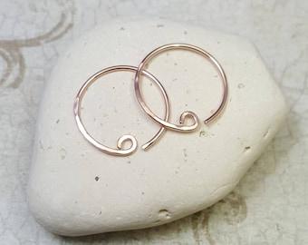 14k Rose Gold hoops. Solid Rose Gold. 14k Gold hoops. Interchangeable earrings. Solid 14k gold. Rose Gold earrings. Tiny rose gold earrings