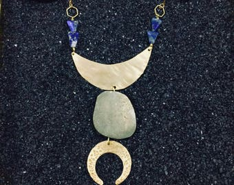 Ganymede necklace |  Brass crescent moons with lapis lazuli + pyrite crystals