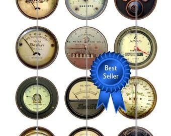Vintage Meters Magnets, Steampunk Gauge Pins, Steampunk Gauges Flatbacks, Vintage Meter Pins, Industrial Meters, Steampunk Wedding, 12 ct.