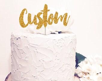 Custom cake topper, personalized name topper, personalized glitter or sparkle names, Script cursive letters.