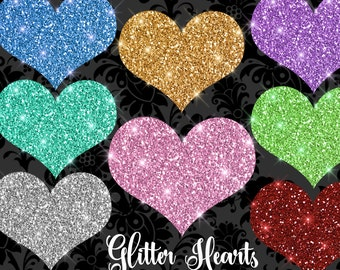 Glitter Hearts Clipart, glitter valentine clipart, valentine's day glitter sparkle hearts clip art, instant download commercial use