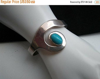 ON SALE Vintage Sterling Silver & Turquoise Cuff Bracelet ** Artist Signed Collectible 1960's 1970's Jewelry