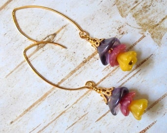 Purple, Pink and Yellow Flower Earrings (3482)