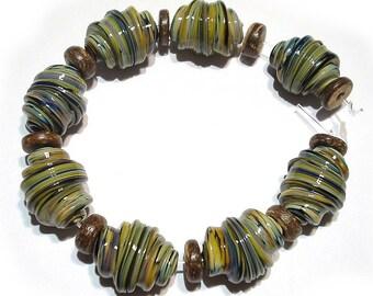 Sra Handmade Glass Lampwork Beads,Raku  Whirled