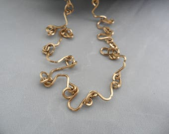 24 Inch Gold Filled Chain 1 20 14K GF Zig Zag Necklace Specialty Chain Squiggle Necklace Gold Filled Link Necklace Unusual Necklace Vintage