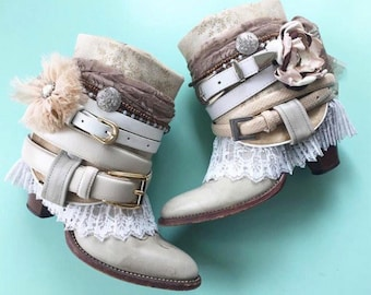Upcycled Cowboy Boots, Wedding Boots, Boho Wedding Boots, Boho upcycled Boots, Western Boots, Ankle Boots, Gypsy Boots