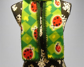 Fleece Scarf with Crocheted Edge, Muffler, Bufanda, Clovers & Lady Bugs