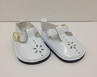 Shoes fit 18 inch American Girl Dolls, White Mary Jane Style , Doll accessories