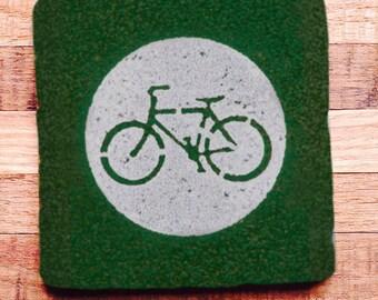 Bike Street Sign Coaster Tile
