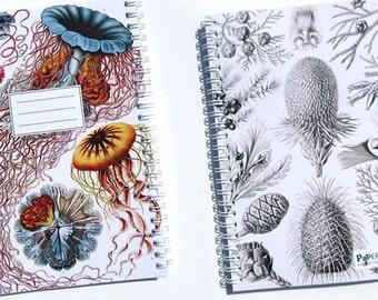 "Spiral Notebook ""Ocean"" / Journal / Sketchbook - blank or lined - colourful jellyfish/corals + black & white botanical design, 3 sizes"