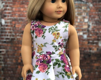American Made Doll Clothes - White Floral Sleeveless SKATER DRESS for 18 Inch