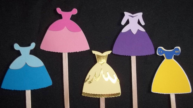 Set Of 12 Disney Princess Dress Cupcake Toppers