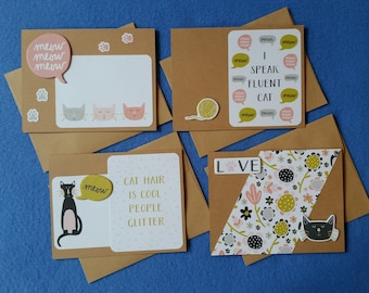 Four Handmade Greeting Cards for Cat Lovers, recycled kraft paper cat cards, blank cards - meow, cat hair, speak cat, cat love