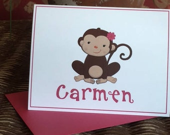 Personalized Kids' Note Cards, Monkey Cards for Girls, Thank You, Stationary, Custom, Folded Name Cards with Envelopes - Set of 10