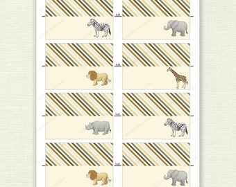 Safari Animals place cards - party printable for name / food labels, elephant, lion, zebra, giraffe, zoo - Digital Instant Download NC010